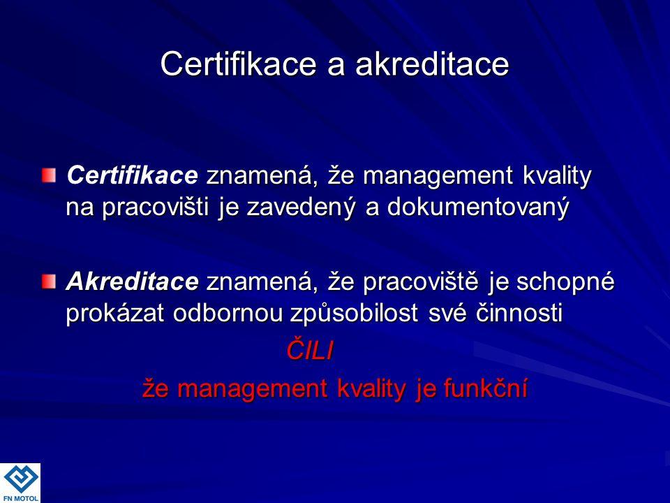 Certifikace a akreditace znamená, že management kvality na pracovišti je zavedený a dokumentovaný Certifikace znamená, že management kvality na pracov