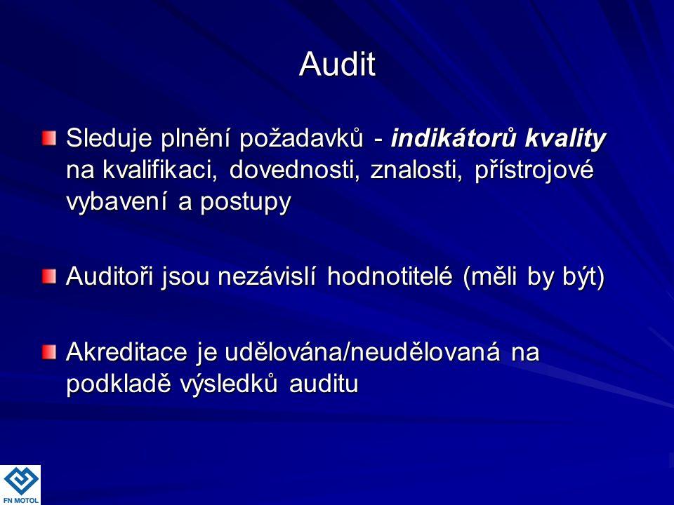 Audit Sleduje plnění požadavků - indikátorů kvality na kvalifikaci, dovednosti, znalosti, přístrojové vybavení a postupy Auditoři jsou nezávislí hodno