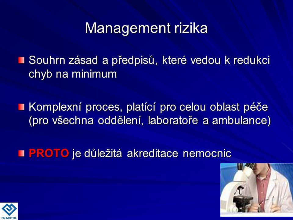Management rizika Souhrn zásad a předpisů, které vedou k redukci chyb na minimum Komplexní proces, platící pro celou oblast péče (pro všechna oddělení