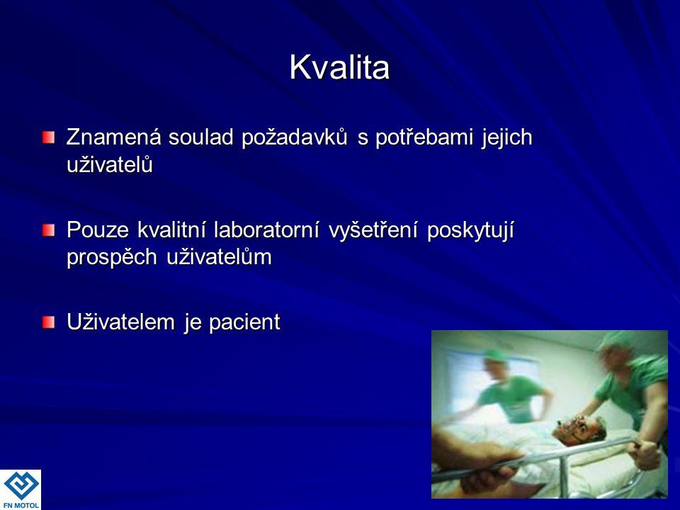 Kvalita Znamená soulad požadavků s potřebami jejich uživatelů Pouze kvalitní laboratorní vyšetření poskytují prospěch uživatelům Uživatelem je pacient