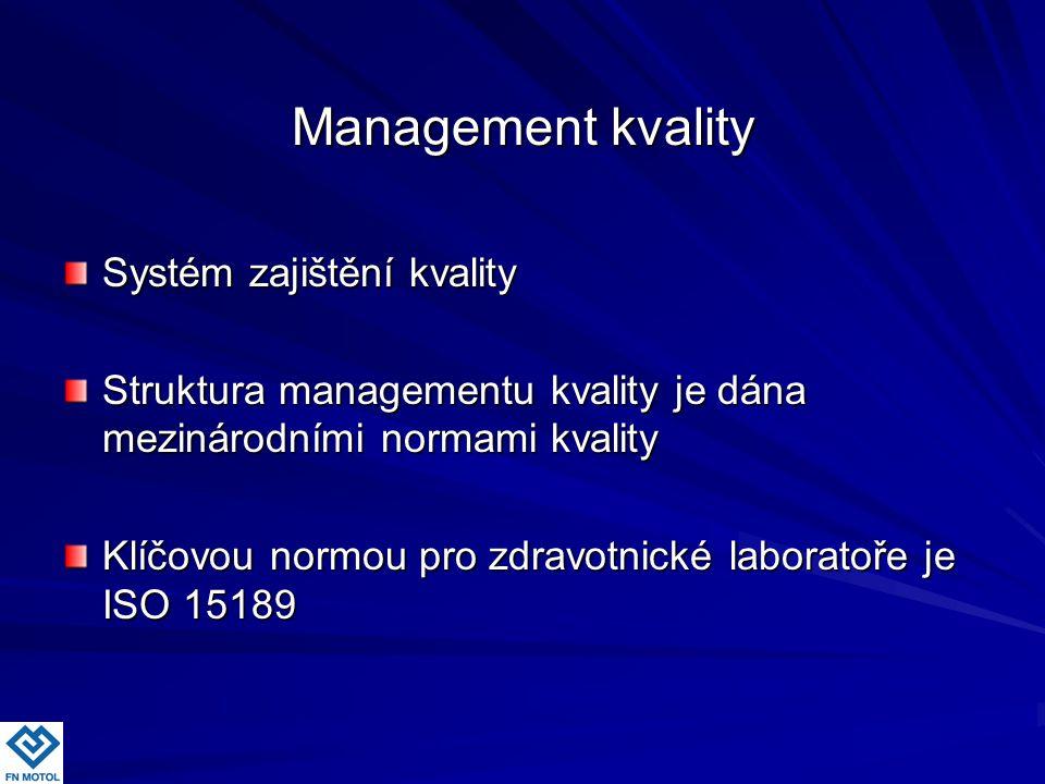Management kvality Management kvality Systém zajištění kvality Struktura managementu kvality je dána mezinárodními normami kvality Klíčovou normou pro