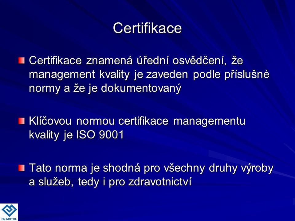Certifikace Certifikace znamená úřední osvědčení, že management kvality je zaveden podle příslušné normy a že je dokumentovaný Klíčovou normou certifi