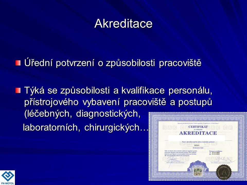 Akreditace Úřední potvrzení o způsobilosti pracoviště Týká se způsobilosti a kvalifikace personálu, přístrojového vybavení pracoviště a postupů (léčeb