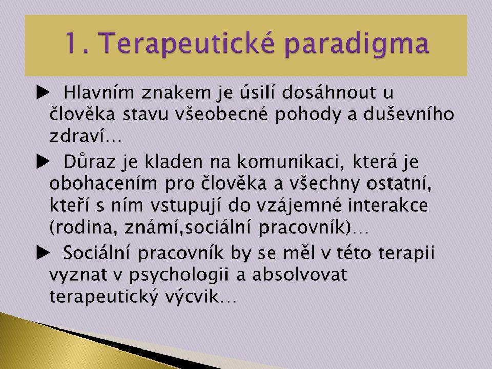  Hlavním znakem je úsilí dosáhnout u člověka stavu všeobecné pohody a duševního zdraví…  Důraz je kladen na komunikaci, která je obohacením pro člověka a všechny ostatní, kteří s ním vstupují do vzájemné interakce (rodina, známí,sociální pracovník)…  Sociální pracovník by se měl v této terapii vyznat v psychologii a absolvovat terapeutický výcvik…