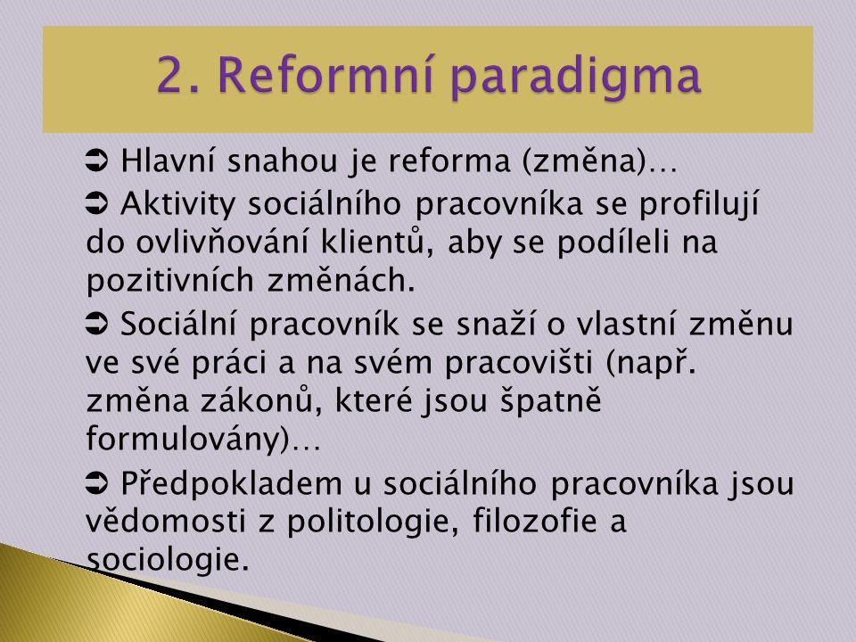  Hlavní snahou je reforma (změna)…  Aktivity sociálního pracovníka se profilují do ovlivňování klientů, aby se podíleli na pozitivních změnách.