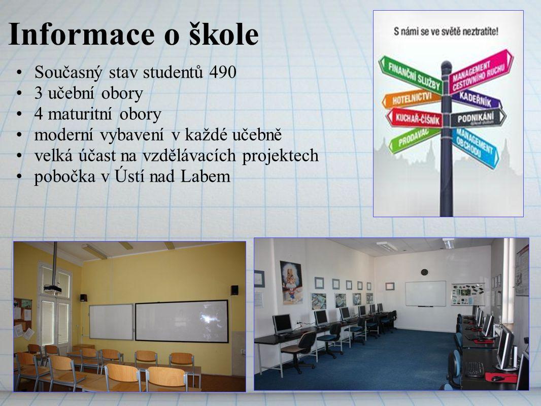 Informace o škole Současný stav studentů 490 3 učební obory 4 maturitní obory moderní vybavení v každé učebně velká účast na vzdělávacích projektech p
