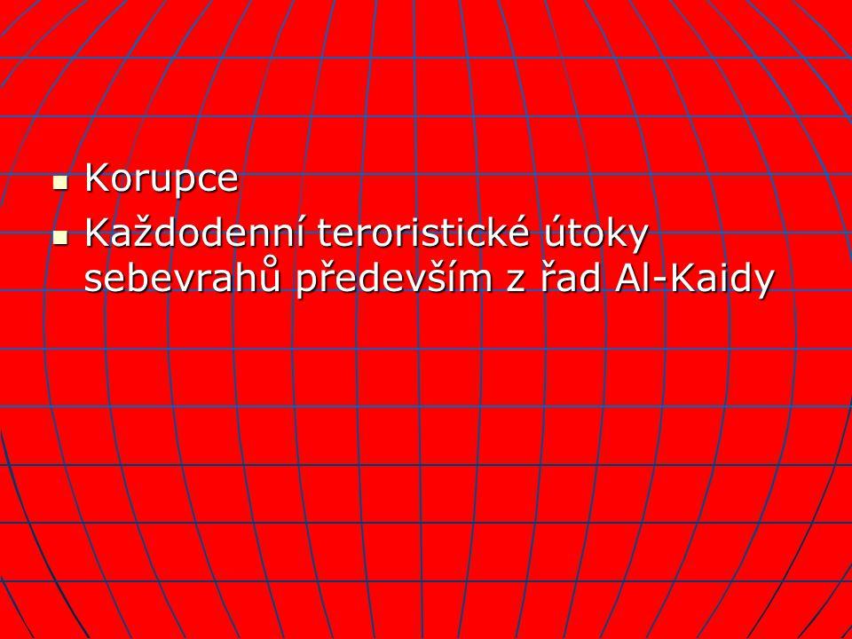 Korupce Korupce Každodenní teroristické útoky sebevrahů především z řad Al-Kaidy Každodenní teroristické útoky sebevrahů především z řad Al-Kaidy