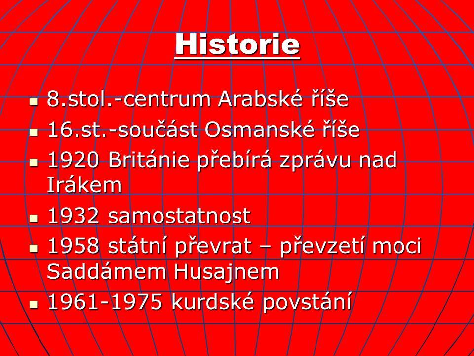 Historie 8.stol.-centrum Arabské říše 8.stol.-centrum Arabské říše 16.st.-součást Osmanské říše 16.st.-součást Osmanské říše 1920 Británie přebírá zprávu nad Irákem 1920 Británie přebírá zprávu nad Irákem 1932 samostatnost 1932 samostatnost 1958 státní převrat – převzetí moci Saddámem Husajnem 1958 státní převrat – převzetí moci Saddámem Husajnem 1961-1975 kurdské povstání 1961-1975 kurdské povstání