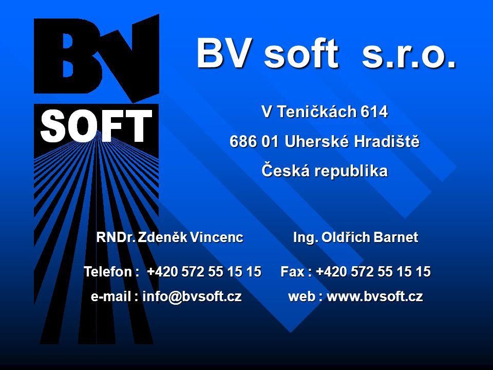 BV soft s.r.o. V Teničkách 614 686 01 Uherské Hradiště Česká republika RNDr.