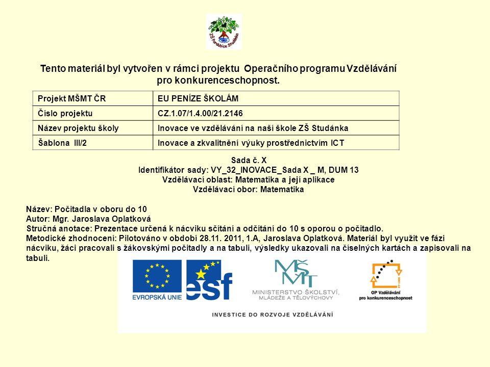 Tento materiál byl vytvořen v rámci projektu Operačního programu Vzdělávání pro konkurenceschopnost. Projekt MŠMT ČREU PENÍZE ŠKOLÁM Číslo projektuCZ.