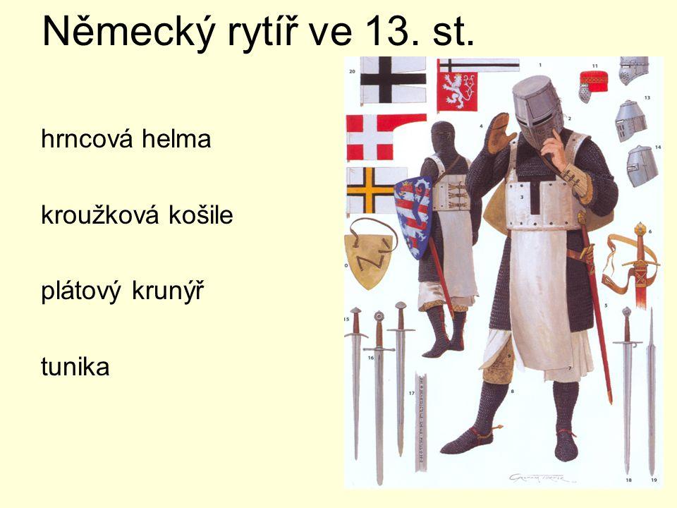 Německý rytíř ve 2.pol.15.st. Od konce 14.stol. plná plátová zbroj (železná schránka)