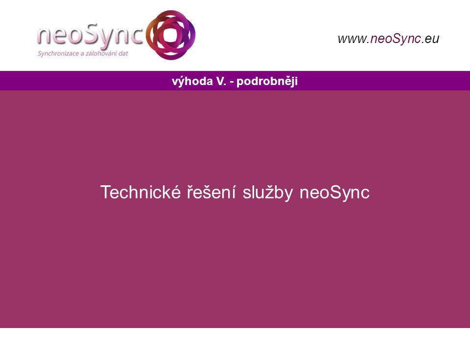 výhoda V. - podrobněji www.neoSync.eu Technické řešení služby neoSync