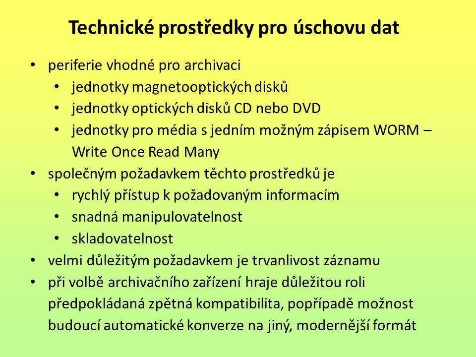 periferie vhodné pro archivaci jednotky magnetooptických disků jednotky optických disků CD nebo DVD jednotky pro média s jedním možným zápisem WORM –