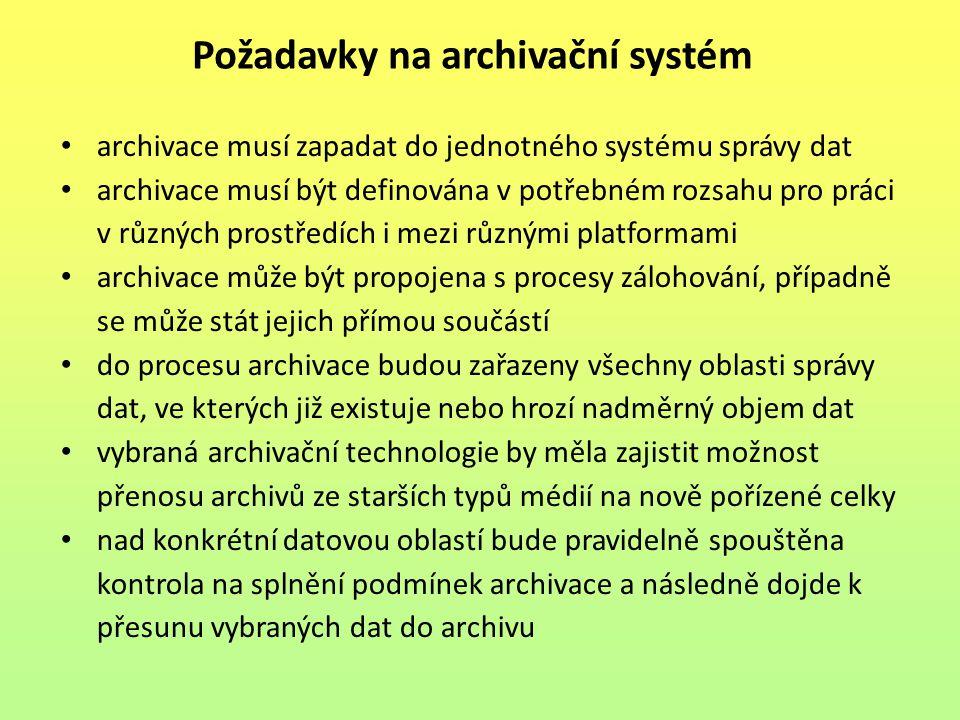 archivace musí zapadat do jednotného systému správy dat archivace musí být definována v potřebném rozsahu pro práci v různých prostředích i mezi různý