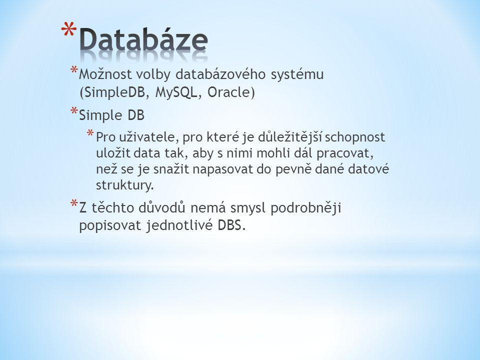 * Možnost volby databázového systému (SimpleDB, MySQL, Oracle) * Simple DB * Pro uživatele, pro které je důležitější schopnost uložit data tak, aby s