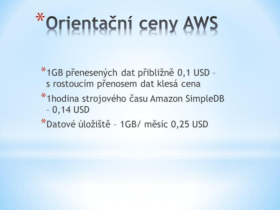 * 1GB přenesených dat přibližně 0,1 USD – s rostoucím přenosem dat klesá cena * 1hodina strojového času Amazon SimpleDB – 0,14 USD * Datové úložiště –