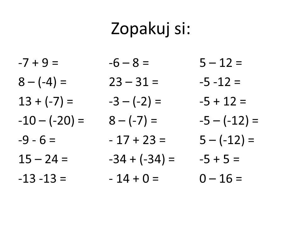 Zopakuj si: -7 + 9 =-6 – 8 = 5 – 12 = 8 – (-4) =23 – 31 =-5 -12 = 13 + (-7) =-3 – (-2) =-5 + 12 = -10 – (-20) =8 – (-7) =-5 – (-12) = -9 - 6 =- 17 + 23 =5 – (-12) = 15 – 24 =-34 + (-34) =-5 + 5 = -13 -13 =- 14 + 0 =0 – 16 =