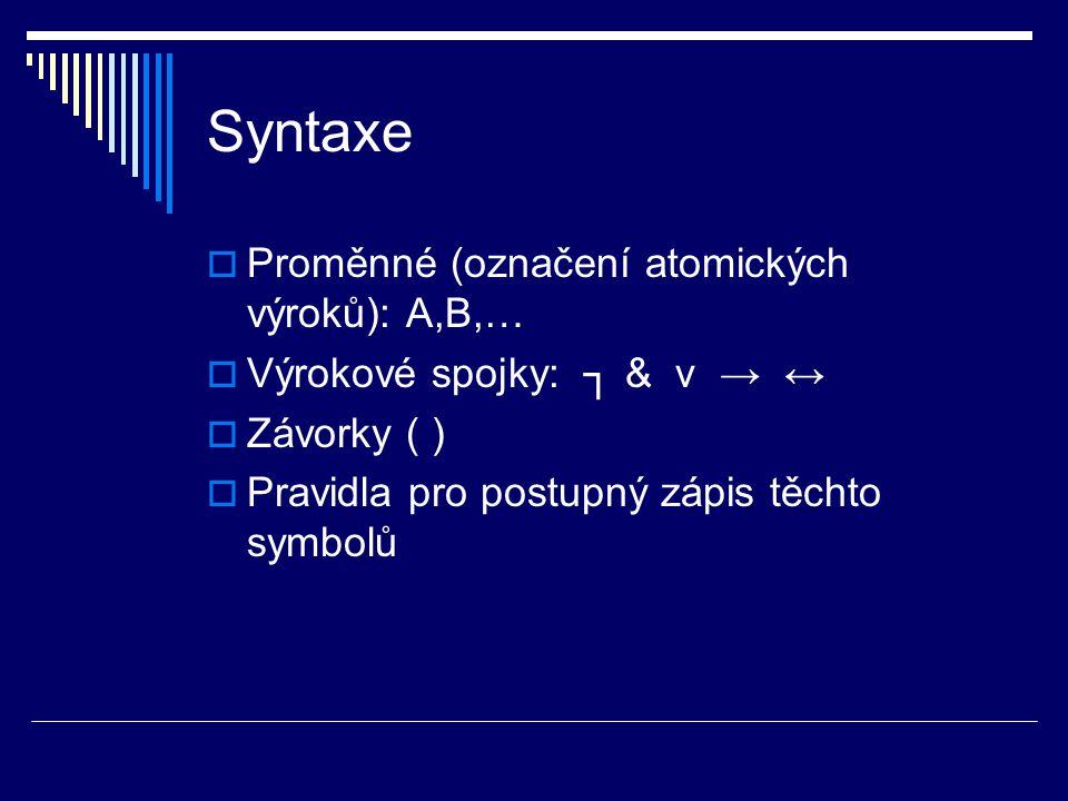 Syntaxe  Proměnné (označení atomických výroků): A,B,…  Výrokové spojky: ┐ & v → ↔  Závorky ( )  Pravidla pro postupný zápis těchto symbolů