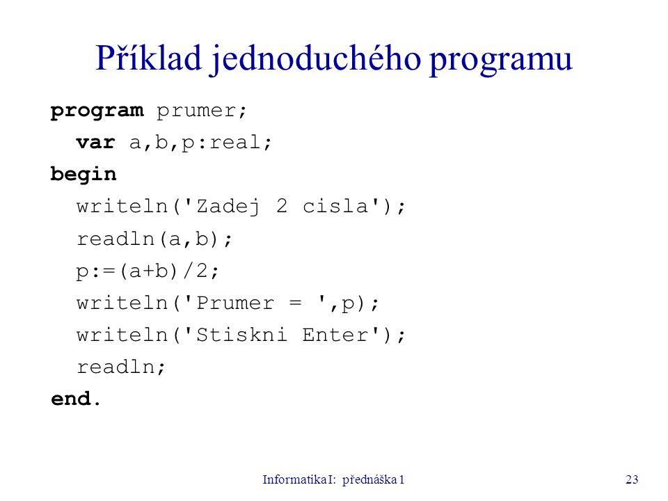 Informatika I: přednáška 123 Příklad jednoduchého programu program prumer; var a,b,p:real; begin writeln('Zadej 2 cisla'); readln(a,b); p:=(a+b)/2; wr