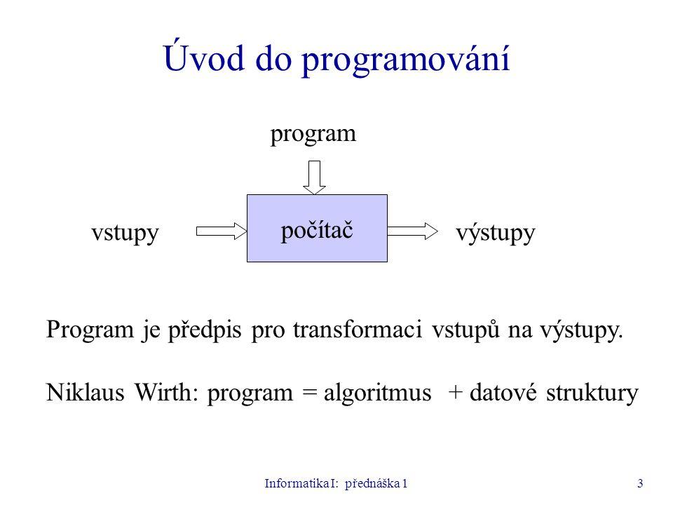 Informatika I: přednáška 114 Příklady lexikálních jednotek  Klíčová slova begin, end, if, for, while, mod  Identifikátory (nerozlišují se velká a malá písmena, místo písmena může být také podtržítko) alfa, X12, y23b, Beta_1, CelkovySoucet  Čísla 123, -58, 17.35, -0.975, 1E6, 2.5E-7 Pozn.: 2.5E-7 znamená 2,5 ·10  7  Řetězce alfa , Celkovy soucet =  Komentáře {Cteni vstupnich udaju}