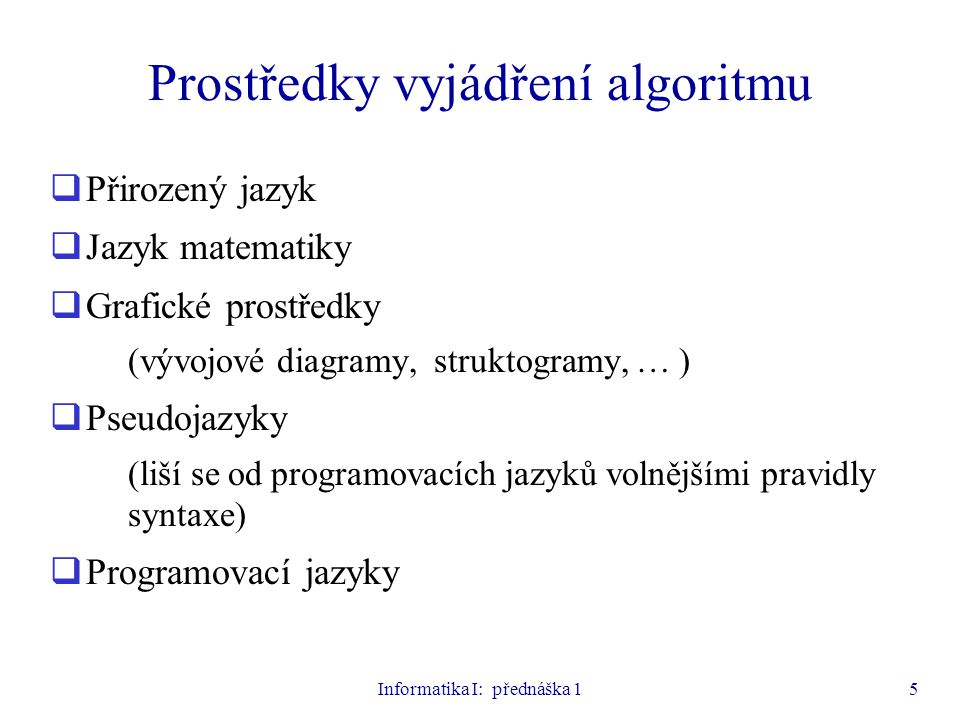 Informatika I: přednáška 15 Prostředky vyjádření algoritmu  Přirozený jazyk  Jazyk matematiky  Grafické prostředky (vývojové diagramy, struktogramy