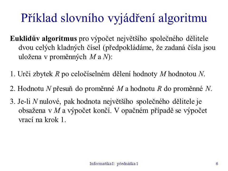 Informatika I: přednáška 16 Příklad slovního vyjádření algoritmu Euklidův algoritmus pro výpočet největšího společného dělitele dvou celých kladných č
