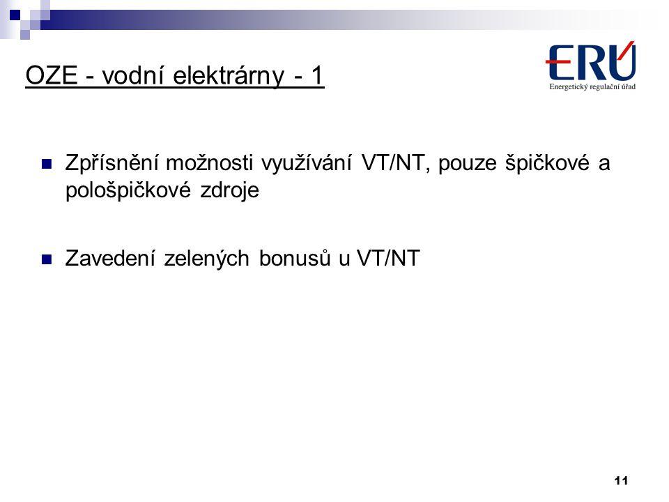 11 OZE - vodní elektrárny - 1 Zpřísnění možnosti využívání VT/NT, pouze špičkové a pološpičkové zdroje Zavedení zelených bonusů u VT/NT