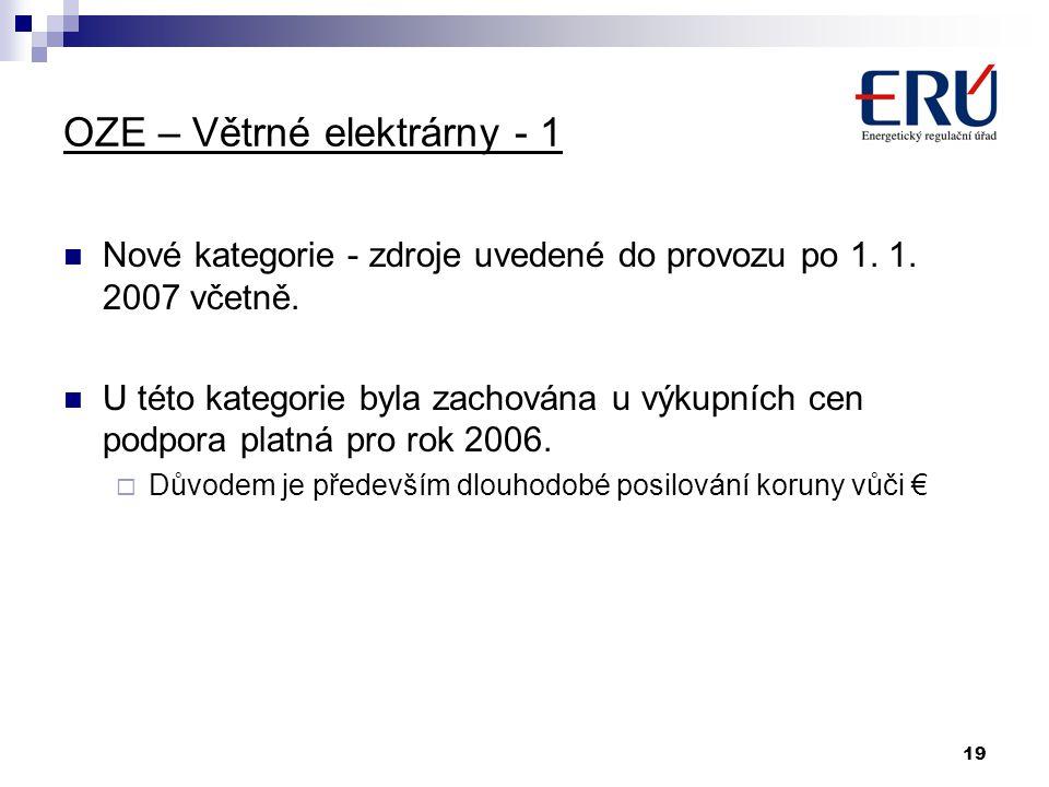 19 OZE – Větrné elektrárny - 1 Nové kategorie - zdroje uvedené do provozu po 1. 1. 2007 včetně. U této kategorie byla zachována u výkupních cen podpor