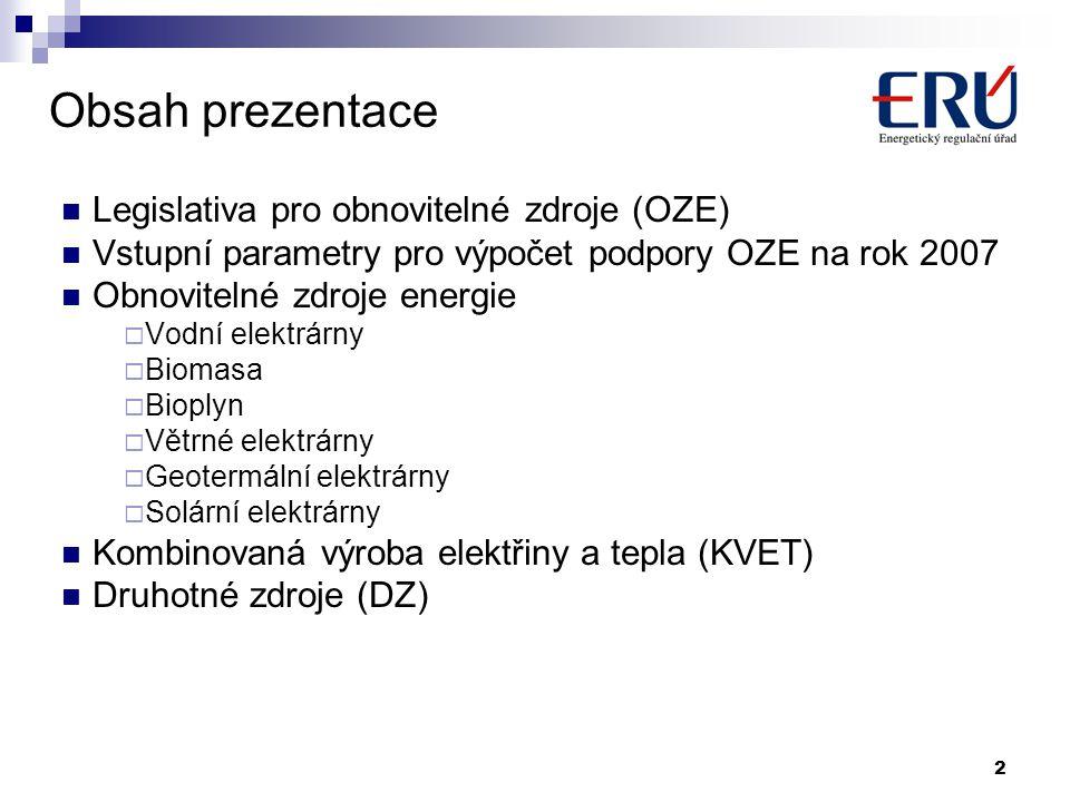 2 Obsah prezentace Legislativa pro obnovitelné zdroje (OZE) Vstupní parametry pro výpočet podpory OZE na rok 2007 Obnovitelné zdroje energie  Vodní e