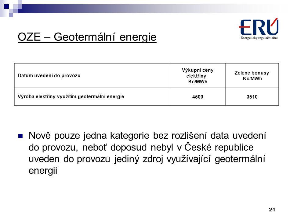 21 OZE – Geotermální energie Nově pouze jedna kategorie bez rozlišení data uvedení do provozu, neboť doposud nebyl v České republice uveden do provozu