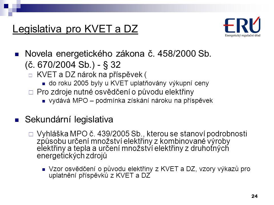 24 Legislativa pro KVET a DZ Novela energetického zákona č. 458/2000 Sb. (č. 670/2004 Sb.) - § 32  KVET a DZ nárok na příspěvek ( do roku 2005 byly u