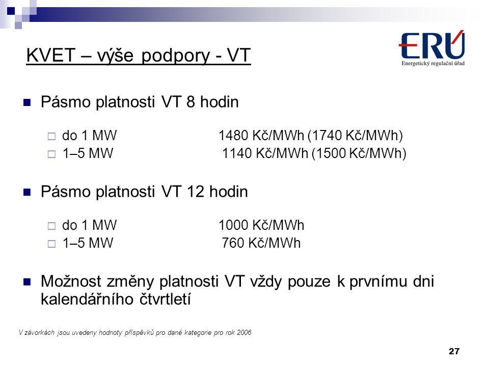 27 KVET – výše podpory - VT Pásmo platnosti VT 8 hodin  do 1 MW 1480 Kč/MWh (1740 Kč/MWh)  1–5 MW 1140 Kč/MWh (1500 Kč/MWh) Pásmo platnosti VT 12 ho