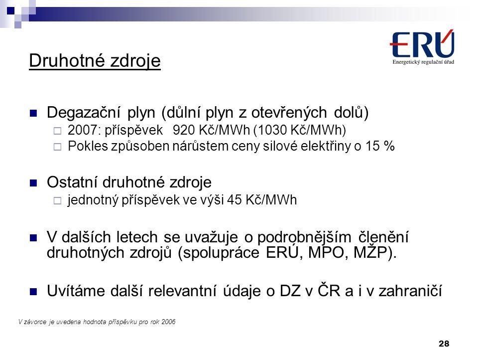 28 Druhotné zdroje Degazační plyn (důlní plyn z otevřených dolů)  2007: příspěvek 920 Kč/MWh (1030 Kč/MWh)  Pokles způsoben nárůstem ceny silové ele
