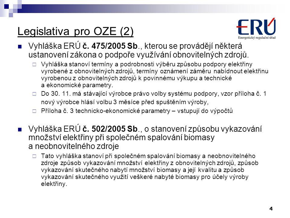 4 Legislativa pro OZE (2) Vyhláška ERÚ č. 475/2005 Sb., kterou se provádějí některá ustanovení zákona o podpoře využívání obnovitelných zdrojů.  Vyhl