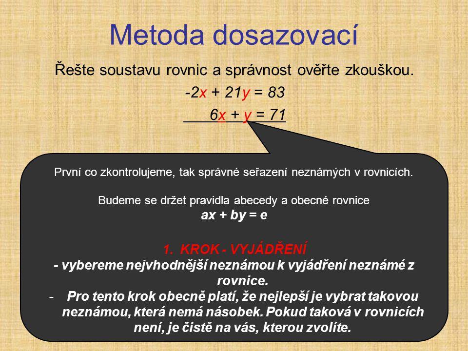 Metoda dosazovací Řešte soustavu rovnic a správnost ověřte zkouškou. -2x + 21y = 83 6x + y = 71 První co zkontrolujeme, tak správné seřazení neznámých