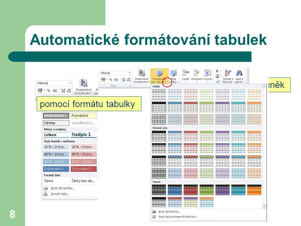 8 Automatické formátování tabulek pomocí stylů buněk pomocí formátu tabulky