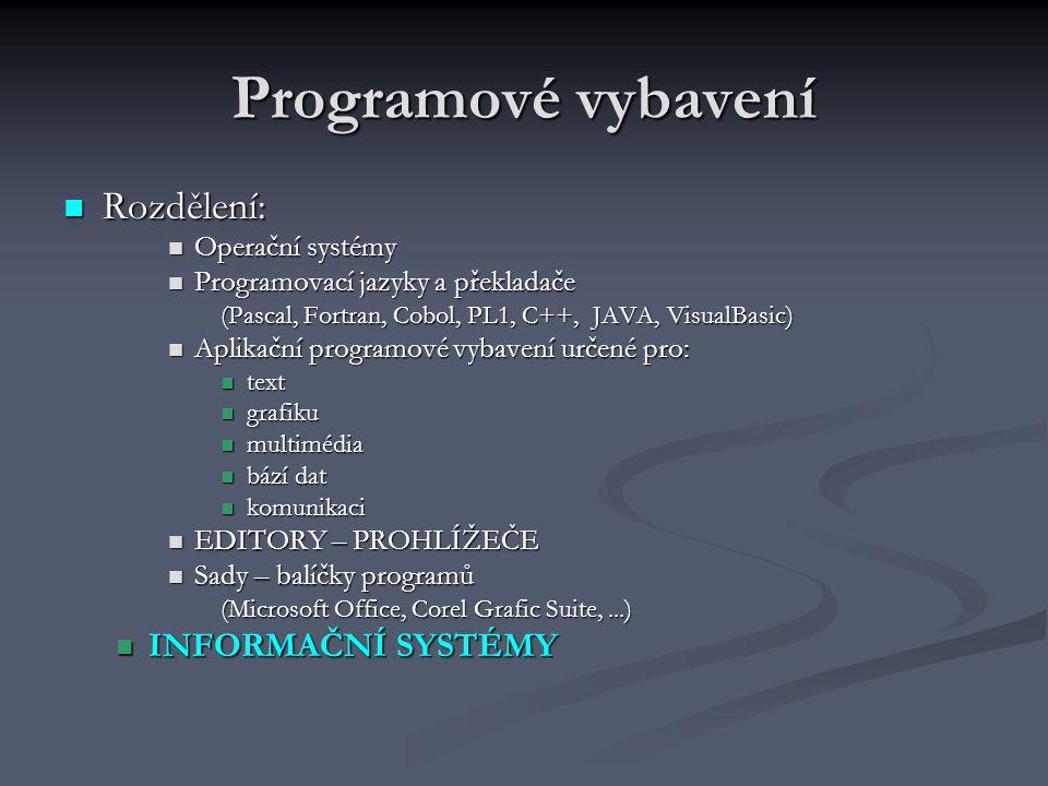 Programové vybavení Rozdělení: Rozdělení: Operační systémy Operační systémy Programovací jazyky a překladače Programovací jazyky a překladače (Pascal,