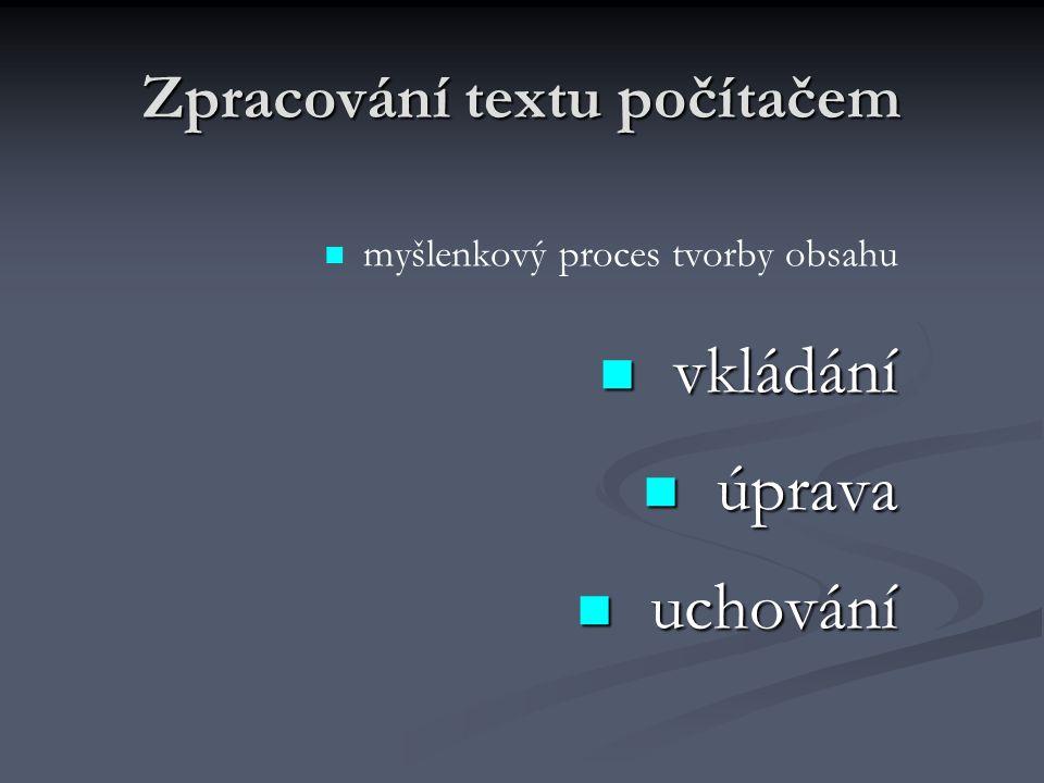 Zpracování textu - prostředky Programový editor – běžné úpravy, ASCII, neproporcionální písmo Programový editor – běžné úpravy, ASCII, neproporcionální písmo Textový editor – úpravy, formátování Textový editor – úpravy, formátování Poznámkový blok, Notepad, T602 editory zdrojových textů Textový procesor – možnost definování procesů(prograsmování), opravy pravopisů, šablony, formátování, WYSIWIG Textový procesor – možnost definování procesů(prograsmování), opravy pravopisů, šablony, formátování, WYSIWIG Microsoft Word, Works, Win602, – Microsoft Word, Works, Win602, – DTP Latex, Ventura Publisher – Latex, Ventura Publisher – elektronická sazba