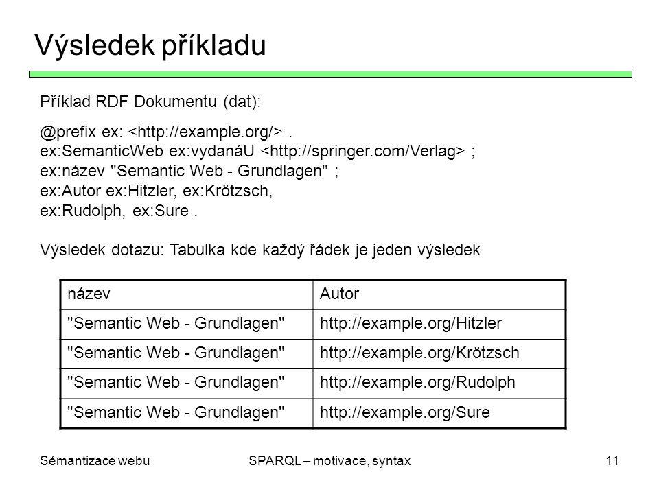 Sémantizace webuSPARQL – motivace, syntax12 Jednoduché grafové vzory Základní dotazovací vzory jsou jednoduché grafové vzory = množiny RDF-Trojic v Turtle-Syntaxi Turtle-zkratky (s použitím, a ;) jsou přípustné Proměnné budou označené .