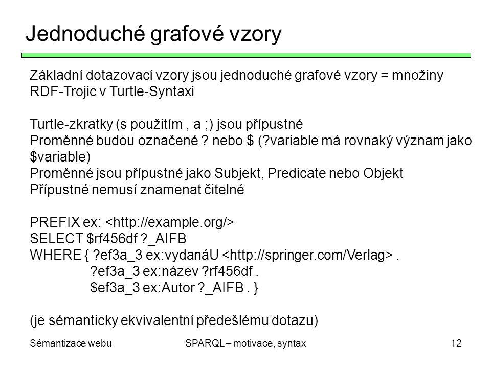 Sémantizace webuSPARQL – motivace, syntax12 Jednoduché grafové vzory Základní dotazovací vzory jsou jednoduché grafové vzory = množiny RDF-Trojic v Tu