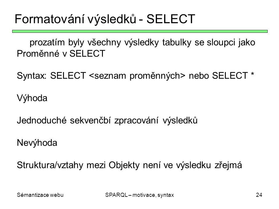 Sémantizace webuSPARQL – motivace, syntax24 Formatování výsledků - SELECT prozatím byly všechny výsledky tabulky se sloupci jako Proměnné v SELECT Syn