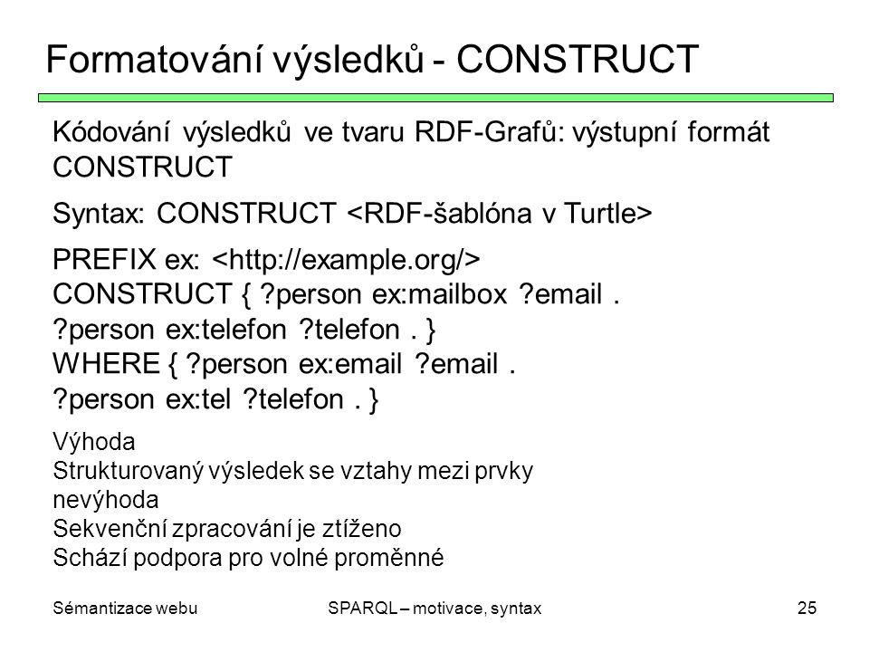 Sémantizace webuSPARQL – motivace, syntax25 Formatování výsledků - CONSTRUCT Kódování výsledků ve tvaru RDF-Grafů: výstupní formát CONSTRUCT Syntax: C