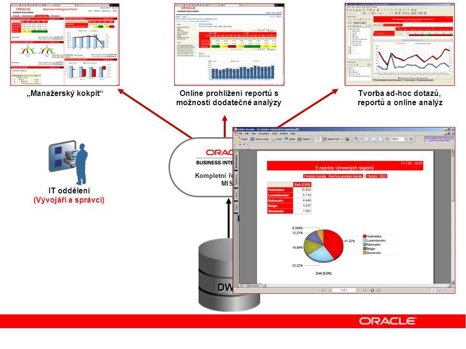 Uživatelé dynamických reportů Uživatelé manažerského kokpitu Analytici IT oddělení (Vývojáři a správci) Uživatelé statických reportů Online prohlížení
