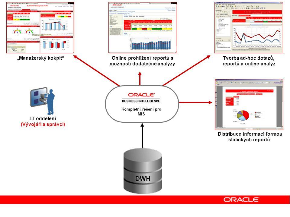 Uživatelé dynamických reportů Uživatelé manažerského kokpitu Analytici IT oddělení (Vývojáři a správci) Uživatelé statických reportů Distribuce inform