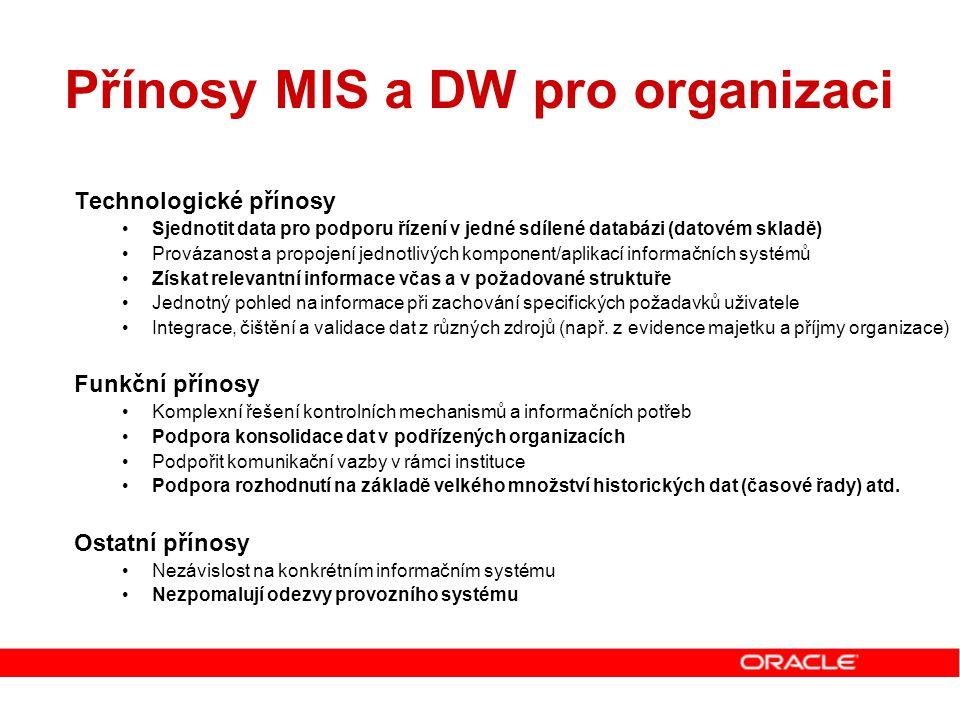 Přínosy MIS a DW pro organizaci Technologické přínosy Sjednotit data pro podporu řízení v jedné sdílené databázi (datovém skladě) Provázanost a propoj