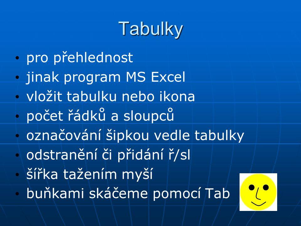 Tabulky pro přehlednost jinak program MS Excel vložit tabulku nebo ikona počet řádků a sloupců označování šipkou vedle tabulky odstranění či přidání ř/sl šířka tažením myší buňkami skáčeme pomocí Tab
