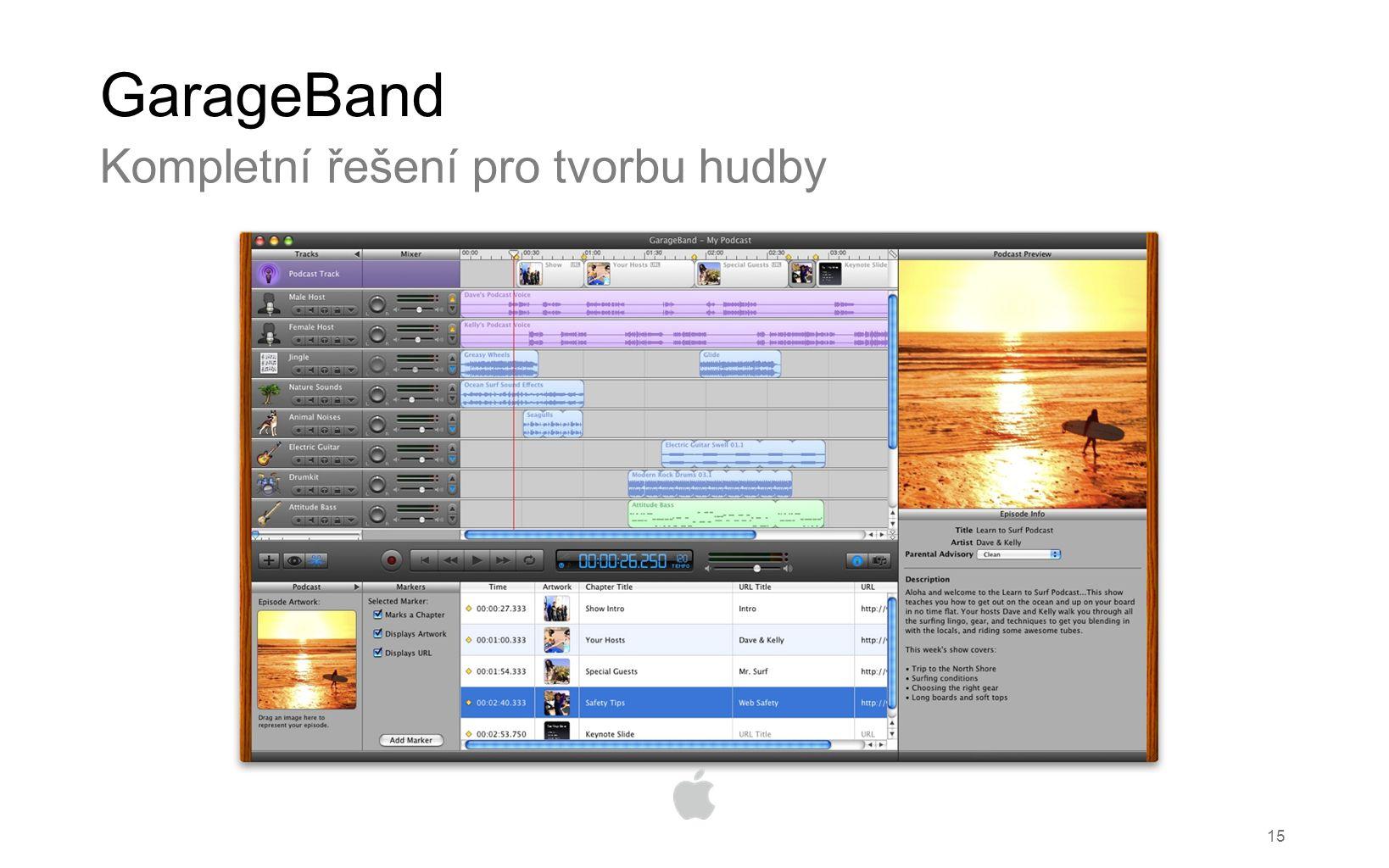 15 GarageBand Kompletní řešení pro tvorbu hudby