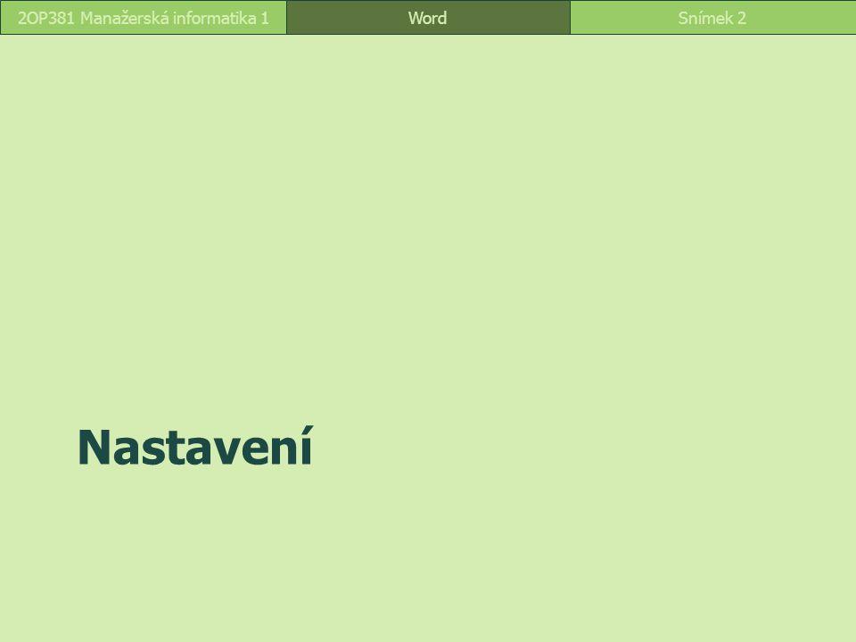 Nastavení WordSnímek 22OP381 Manažerská informatika 1