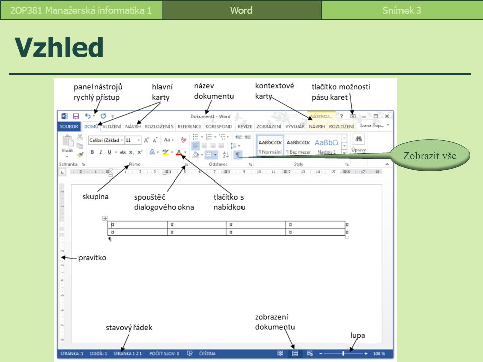 Pravítko FormátováníSnímek 142OP381 Manažerská informatika 1 odsazení prvního řádku předsazení prvního řádku odsazení zleva odsazení zprava levá tabulátorová zarážka nastavení typu tabulátoru