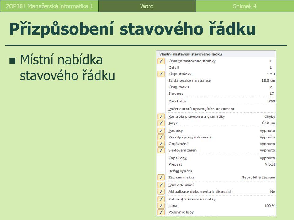 Možnosti Možnosti aplikace Word, k.